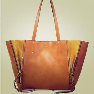 Chloe milo leather & suede tote caramel color